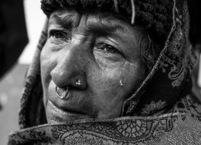 """The tears of Suk Maya Nepali, 72, have not yet stopped. She lost two members of her family, one granddaughter and one grand granddaughter. She said, """"God should have taken me. Why it took members of my family who still had more life to live?"""" Simjung VDC, Gorkha."""